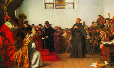 Martin Luther for Rigsdagen i Worms, 1521. Maleri af Anton von Werner, 1877.